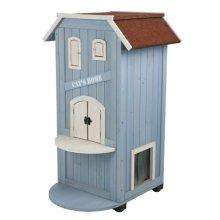 Trixie Natura Katzenhaus Cat's Home, 56 × 94 × 59 Cm, Hellblau/weiß - x Cats -  x trixie cats home 56 94 59 cm new