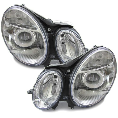 Mercedes  E Class W211 2002-2006 Headlights Headlamps 1 Pair O/s & N/s
