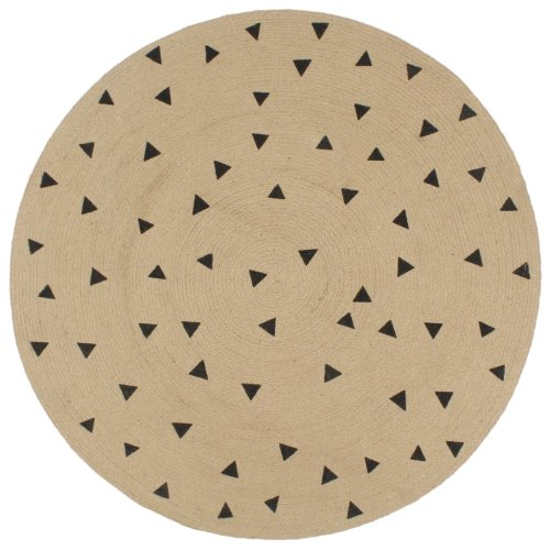 vidaXL Handmade Rug Jute with Triangle Print 120cm Room Floor Protector Carpet