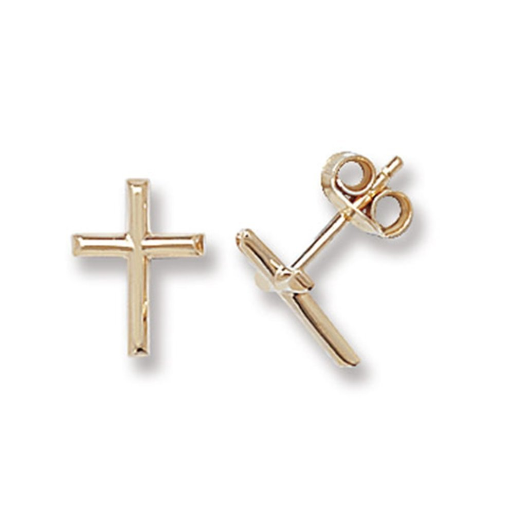 7a61d74d6ee 9ct Yellow Gold Cross Stud Earrings