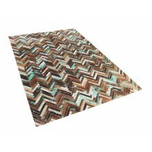 Rug - Carpet - Cowhide Rug - Patchwork -   - Brown Blue Beige - AMASYA