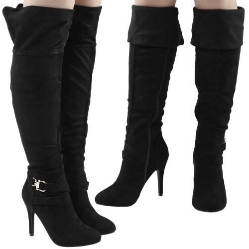 Hope Womens High Stiletto Heel Fold Down Over The Knee Boots
