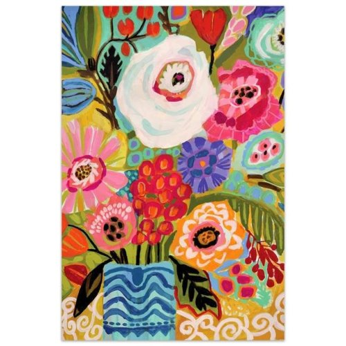Empire Art Direct TMP-126003-4832 48 x 32 in. Fresh Flowers in Vase II Colorful Frameless Tempered Glass Panel Contemporary Wall Art
