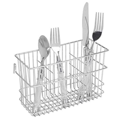 HDS Trading CH41178 Hanging 3-Slot Chrome Cutlery Holder