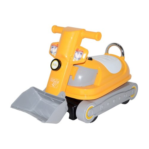 RideonToys4u 360 Degrees Rotating Ride on Bulldozer Push Along Toy With Under Storage Space Colour Yellow Ages19-36 Months