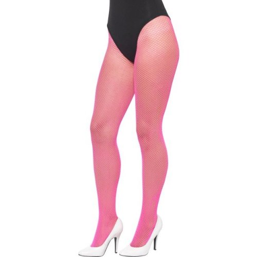 ed6a92904c2d1 Smiffy's Women's 1980's Fishnet Tights (neon Pink) - fishnet tights fancy  dress neon ladies accessory 80s 1980s adult hosiery workout pink on OnBuy
