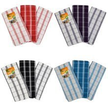 TEA TOWELS PACK OF 3 CHECK IN 4 DIFFERENT COLOURS