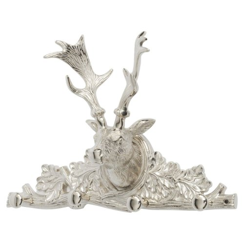 Libra Nickel Stag 4 Hook Wall Hanger Deer Head Antler Animal Silver