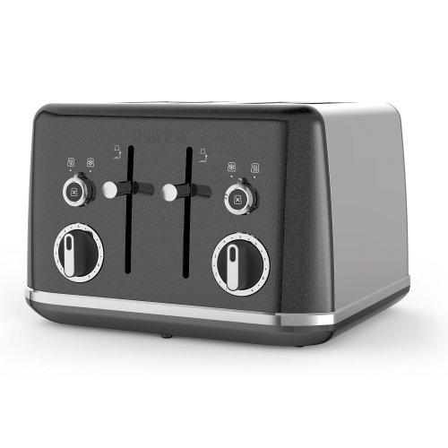 Breville VTT853 Lustra Storm 4 Slice Toaster, Stainless Steel, Grey