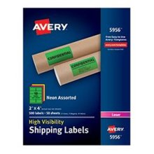 Avery-Dennison Ave5956 2 X 4 In. High-Visibility Shipping Label, Assorted, Box Of 500