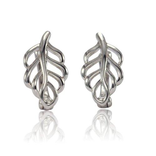 6b0da6e636aac6 Blue Diamond Club - Lovely Pair of 9ct White Gold Filled Leaf shape  Leverback Earrings Girls Womens on OnBuy