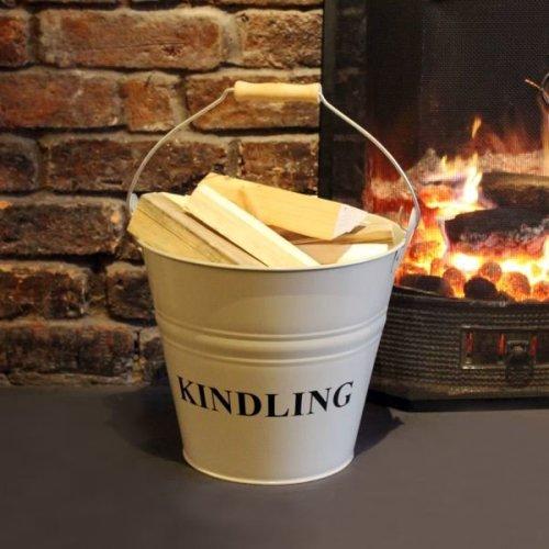 a'la Maison  Fireside Fireplace Steel Kindling Bucket Vintage Metal