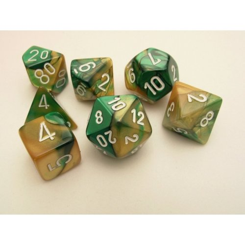 Chessex Gemini Polydice Set - Gold-Green/white