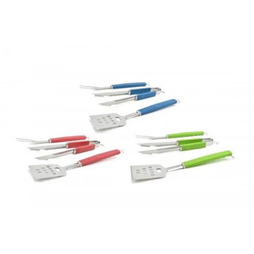 Charcoal Companion CC1080 Perfect Grip Barbecue Set, 6 Piece - Red, Blue & Green
