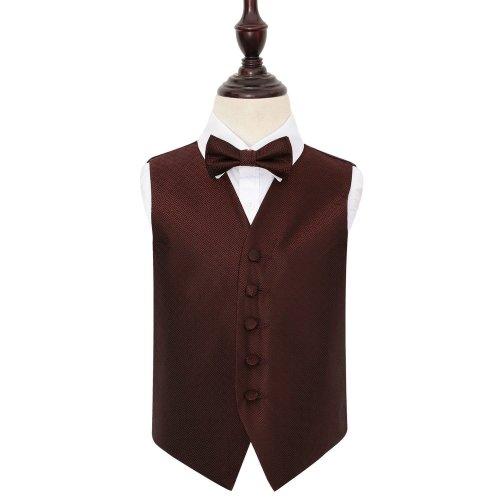 Burgundy Greek Key Wedding Waistcoat & Bow Tie Set for Boys 34'
