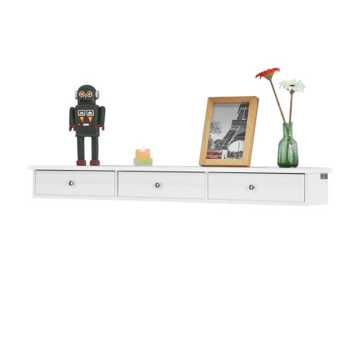 SoBuy® FRG43-L-W, Floating Shelf Wall Drawers Wall Shelf with 3 Drawers