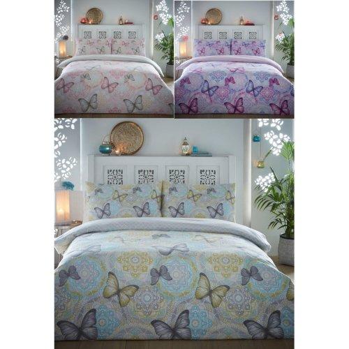Boho Butterfly Brushed Cotton Flannelette Duvet Cover Floral Flannel Bedding Set