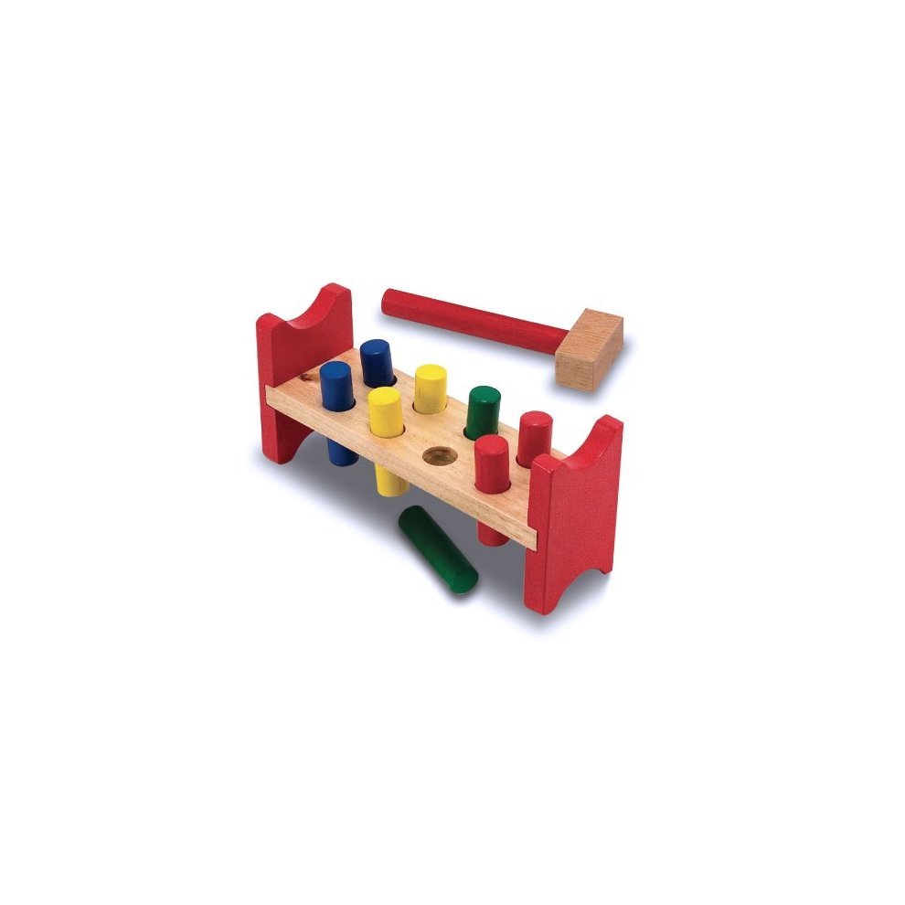 Melissa Doug Deluxe Wooden Pound A Peg Toy With Hammer