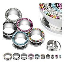 Crystal Encrusted Surgical Steel Screw Fit Hollow Ear Tunnel Saddle Plug Piercing Finest Quality Materials