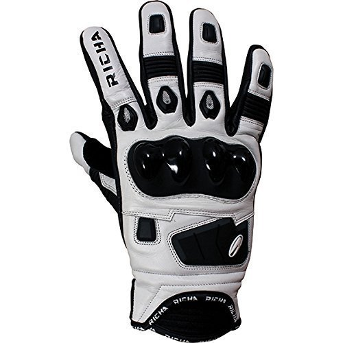 Richa Rock White Short Leather Sports Summer Motorcycle Gloves