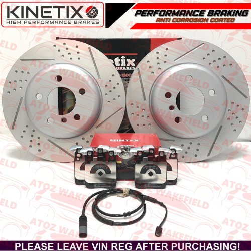 FOR BMW 3 SERIES 340i M SPORT REAR DRILLED PERFORMANCE BRAKE DISCS MINTEX PADS