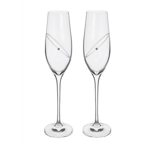 Silver Wedding Anniversary Gifts ~ Celebration Flutes from Dartington Crystal. ST2663
