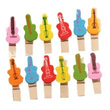 Set Of 2 Lovely Photo Folder Wooden Clip Photo Folder Decorative Clip Guitar
