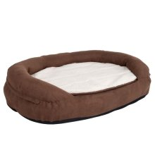 Oval Memory Foam Dog Bed - Brown