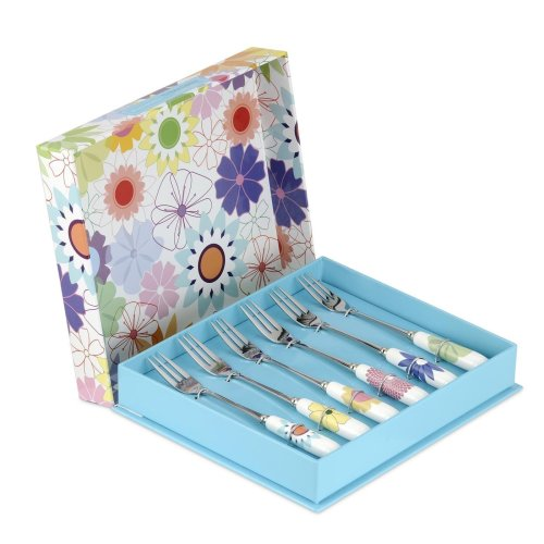 Crazy Daisy Pastry Fork, Stainless Steel, Multi-Colour, Set of 6
