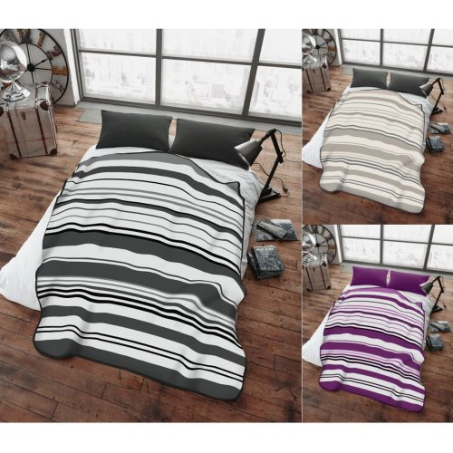 Bertie Stripe Super Soft Cudly Blanket Sofa Throw Large Double Size 150 x 200cm