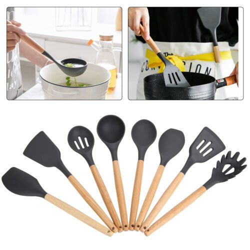 8x Silicone Spoons Wooden Handle Spatula Kitchen Cooking Utensils Tools Set