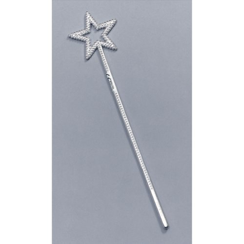 Silver Fairy Wand With Star - Fancy Dress Plastic Christmas Angel Wands Fancy -  fancy dress fairy wand silver plastic star christmas angel wands