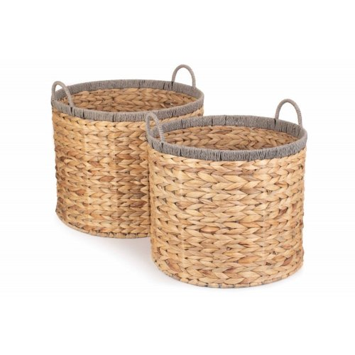 Round Water Hyacinth Basket With Grey Rope Border