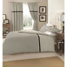 Valeria grey striped cotton blend duvet cover