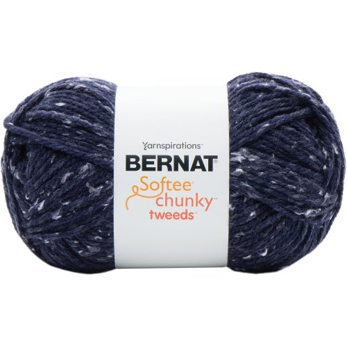Bernat Softee Chunky Tweeds Yarn Big Ball-Blue