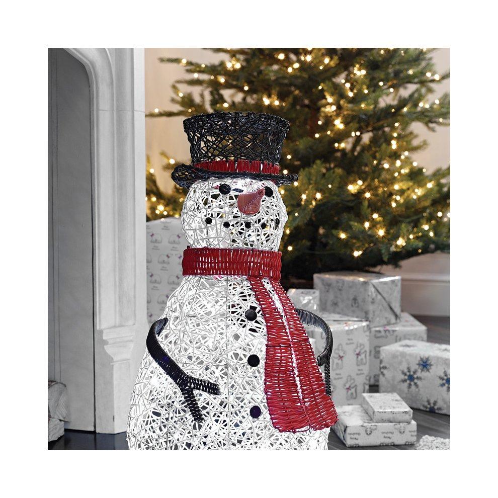 Outdoor Snowman Christmas Decorations.Led Rattan Snowman Christmas Figure 70cm Light Up Indoor