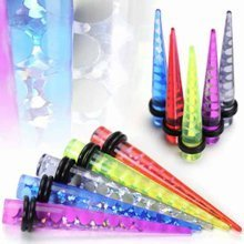 Urban Male Five Pack of UV Acrylic Ear Stretchers Tapers Holographic Design 4mm