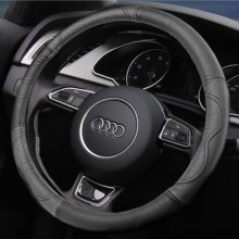 Leather Car Steering Wheel Cover | Black Steering Wheel Cover