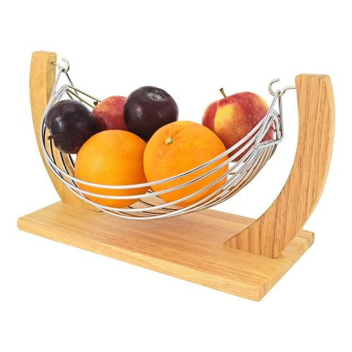 Top Home Solutions? Beautiful Decorative Chrome Wire Fruit Basket Hammock Bowl Stand with Wooden Base