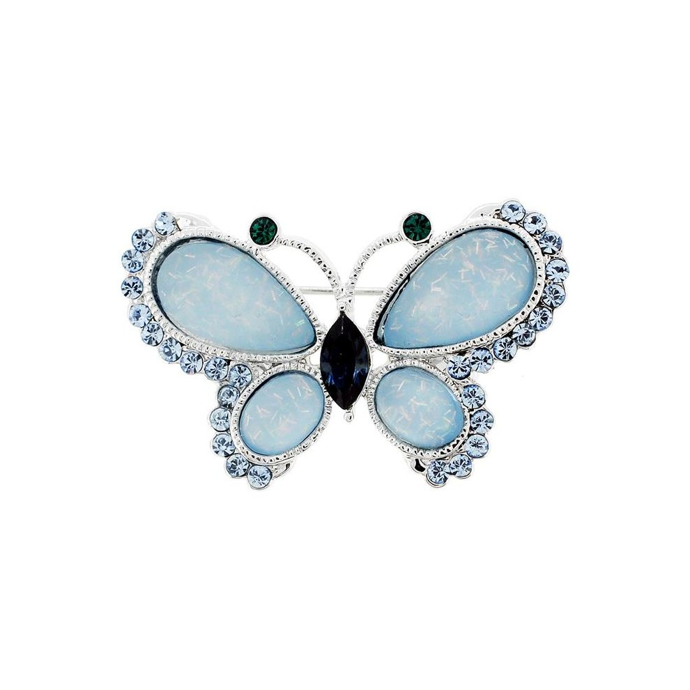 Fantasyard Butterfly Swarovski Crystal Pin Brooch - Light Blue - 1 5 x  0 875 in