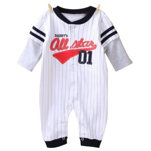 Baby Suit Baby Clothing Long-Sleeved Cotton Baby Crawl Sports Clothing White