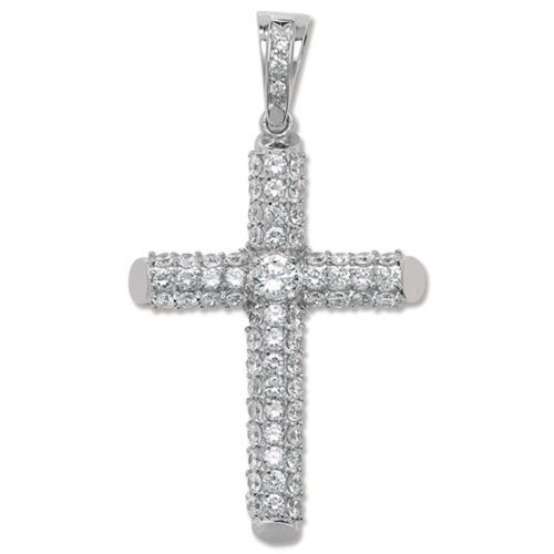 Childrens Sterling Silver Large Bling Cross Pendant On A Curb Necklace