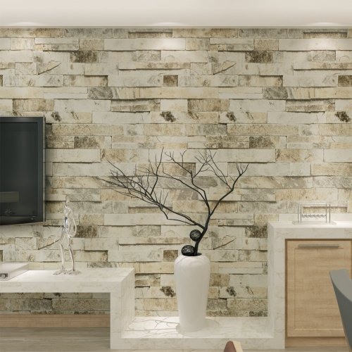 Hanmero Imitation Brick Marble Wall Pattern Looks Real Up Wallpaper 20.86 inches by 393.7 inches Long Murals PVC Vinyl Dimensional 3D Wall Paper TV...