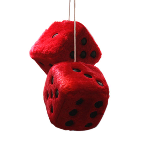 Creative Plush Dice Hanging Ornament for Car Rearview Mirror Home Décor, Red
