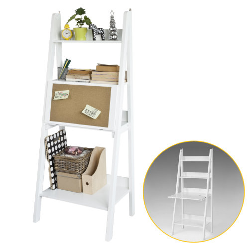 SoBuy® FRG115-W, Ladder Shelf Bookcase Storage Display Shelf with Desk