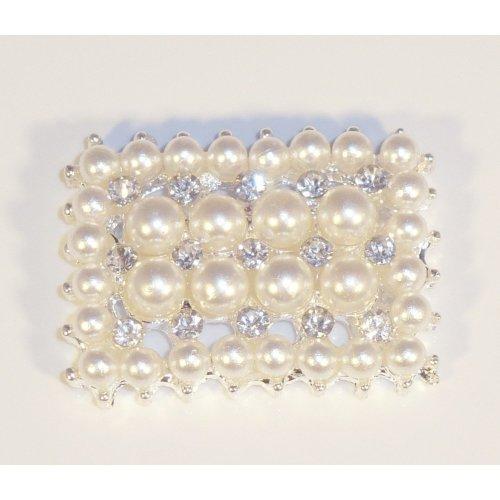 10 x Diamante and Pearl Rectangular Diamante Rhinestone Embellishments