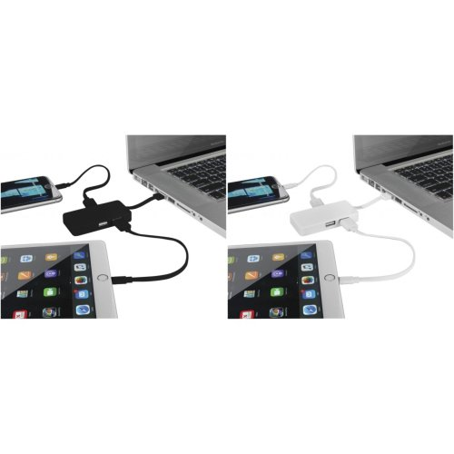 Bullet Grid USB Hub With Dual Cables
