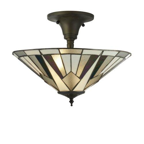 Searchlight Gatsby Tiffany Semi Flush Light Bronze/Black/Clear/White/Multi