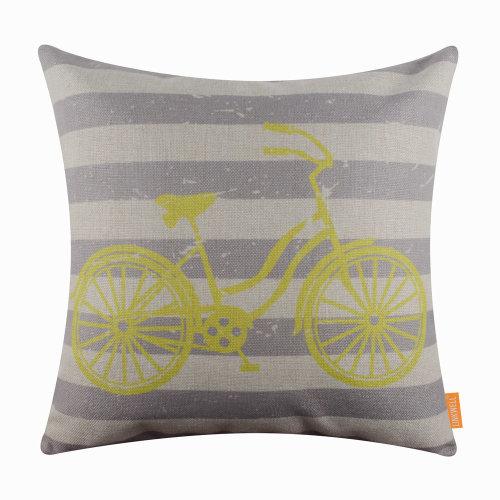 "18""x18"" Yellow Bike Burlap Pillow Cover Cushion Cover"