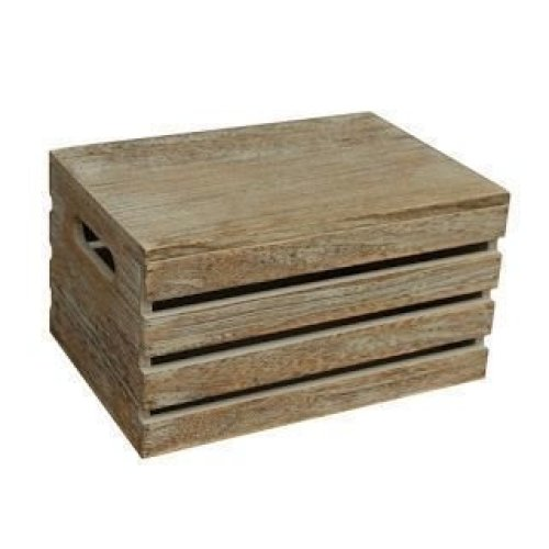 Large Oak Effect Wooden Lidded Storage Box